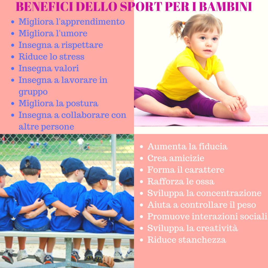 benefici sport per bambini